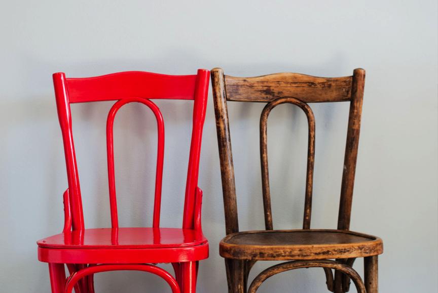cadeira nova e antiga